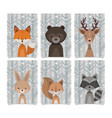 lovely collection forest animals vintage style vector image