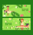 massage at spa salon healthcare treatment banner vector image vector image