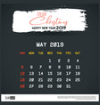 may 2019 new year calendar template brush stroke vector image vector image