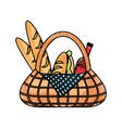 picnic basket vector image vector image