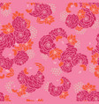 pink orange floral bouquet seamless texture vector image