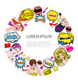 pop art colorful elements round concept vector image