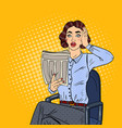pop art shocked woman reading a newspaper vector image vector image