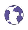 purple line contour of earth globe icon vector image vector image