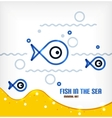 sea and fish line art background vector image