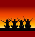 seated group people with their hands up vector image vector image