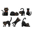 set cute black cats isolated on white vector image