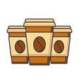 set of three paper coffee cup beverage refreshment vector image