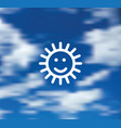 smile sun symbol blue sky background icon vector image