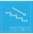 Stair down with arrow White section of icon on vector image vector image