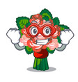 super hero bouquets flower on the character shape vector image