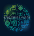 surveillance round colored outline vector image