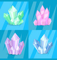 variety green pink purple blue crystals precious vector image