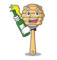 with beer honey spoon mascot cartoon vector image