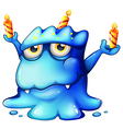 A blue monster celebrating a birthday vector image vector image