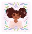 afro american woman bun hair style cartoon flowers vector image vector image