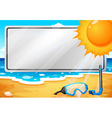 An empty signage at the beach vector image vector image