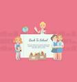 back to school banner with cute school children vector image vector image