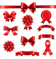 big set ribbon bow white background vector image vector image