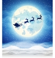 bright moon and the silhouette of Santa Claus vector image vector image