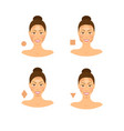 cartoon face type contouring tutorial icon set vector image vector image