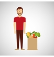 cartoon man hipster with shop bag healthy food
