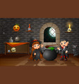 cartoon of little witch and vampire vector image vector image
