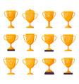 champion golden cups gold winner trophy goblets vector image
