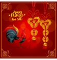 Chinese New Year greeting card with rooster coins vector image vector image