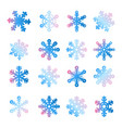 christmas new year snowflake set vector image