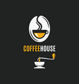 coffee bean logo with coffee cup and grinder vector image vector image