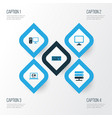 computer colorful icons set collection of display vector image vector image