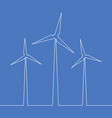 continuous one line wind turbine energy concept vector image