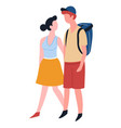 couple love traveling man with backpack and woman vector image vector image