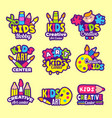 creativity kids logo craft emblems or badges vector image