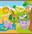 Cute Cartoon Zoo Animals vector image vector image