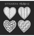 Decorative black and white hearts Set of stickers vector image vector image