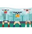 drones deliver parcels hands hold vector image vector image