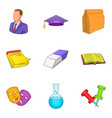 educational institution icons set cartoon style vector image vector image