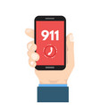 emergency call 911 call phone in hand vector image vector image