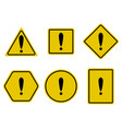 exclamation and warning sign set vector image vector image
