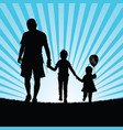 family happy walking in nature silhouette color vector image vector image