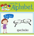 Flashcard letter S is for spectacles vector image vector image