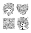 Floral set - tree girl heart frame for your vector image