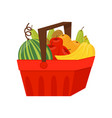 fresh ripe fruits in red plastic basket healthy vector image