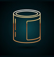 gold line canned food icon isolated on dark blue vector image vector image