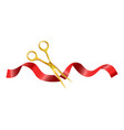 gold scissors that cut ceremonial red silk ribbon vector image