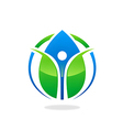 green ecology blue water drop health people logo vector image vector image