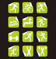 grreen stickers with fitness sport icons vector image vector image