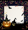 halloween greeting card with merry pumpkins vector image vector image